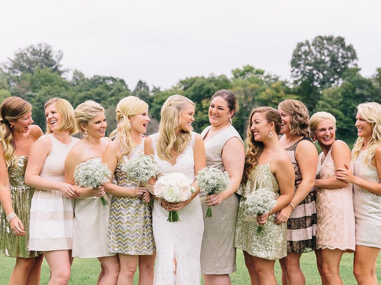 Bridal Party In Shimmery Dresses
