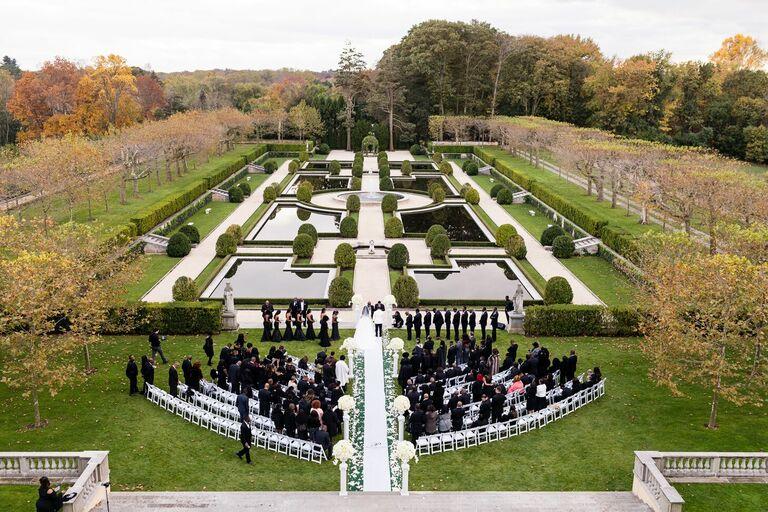Outdoor wedding ceremony in garden