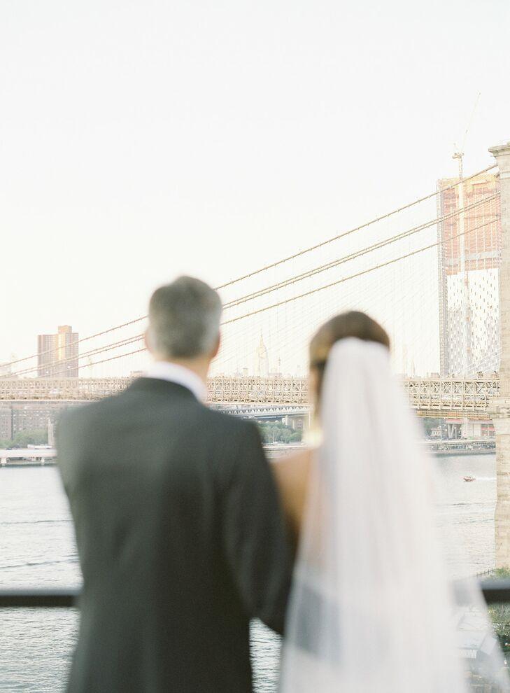 Classic NYC Couple Overlooking Brooklyn Bridge