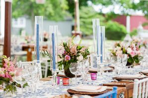 Preppy Tented Reception with Blue and Pink Accents