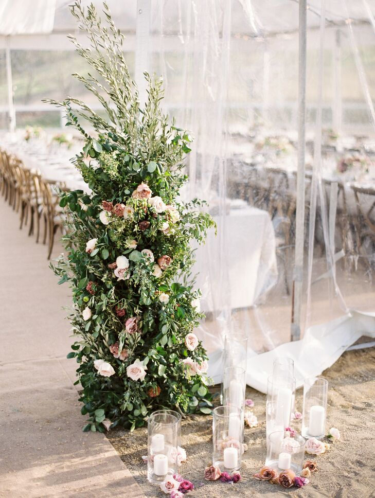 Tall De-structured Greenery and Rose Floral Arrangement