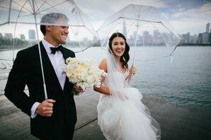 Strapless White Monique Lhullier Wedding Gown