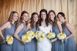 Gray Bridesmaid Dresses With Yellow Bouquets