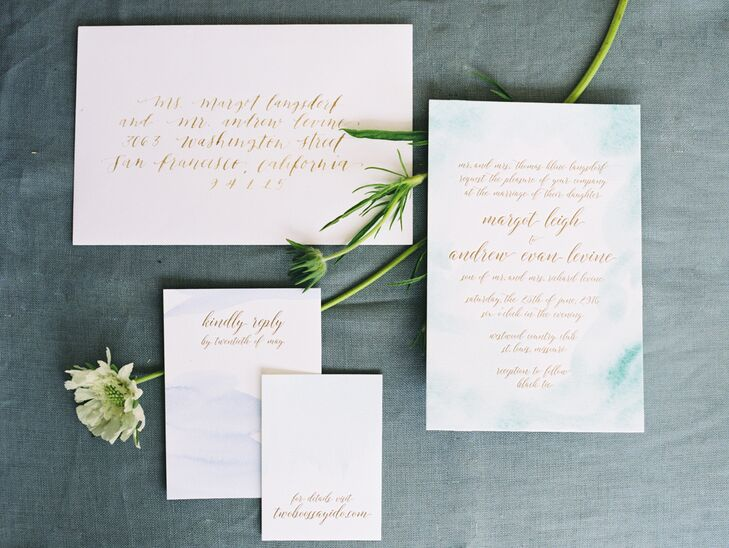 Watercolor Invitation with Gold Caligraphy