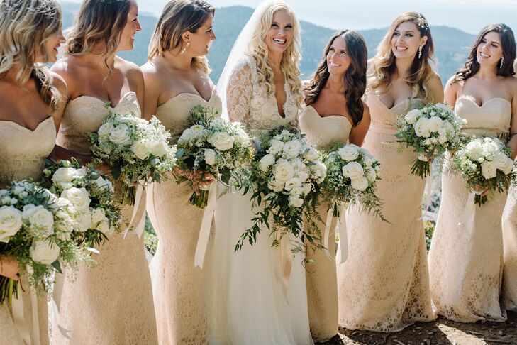 """I wanted my bridesmaids to feel just as beautiful that day, so I chose a form-fitting, floor-length champagne lace dresses, with a sweetheart neckline,"" Vanessa says. Each dress was handcrafted by Fashion Streets, a seamstress on Etsy."