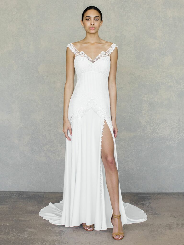 Claire Pettibone Spring 2019 off the shoulder wedding dress with slit