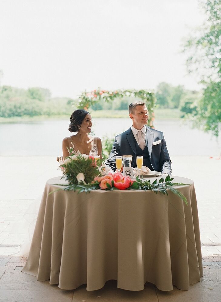 Classic Couple with Sweetheart Table and Greenery