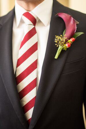 Red Lily, Berry and Eucalyptus Boutonniere