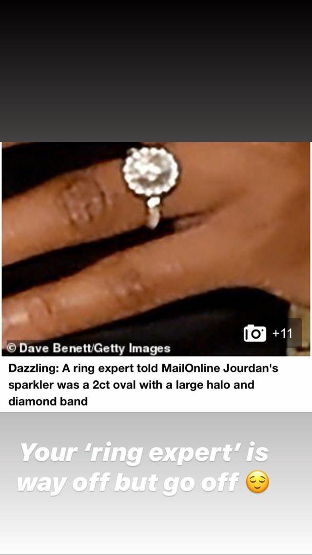 jourdan dunn fires back instagram engagement ring
