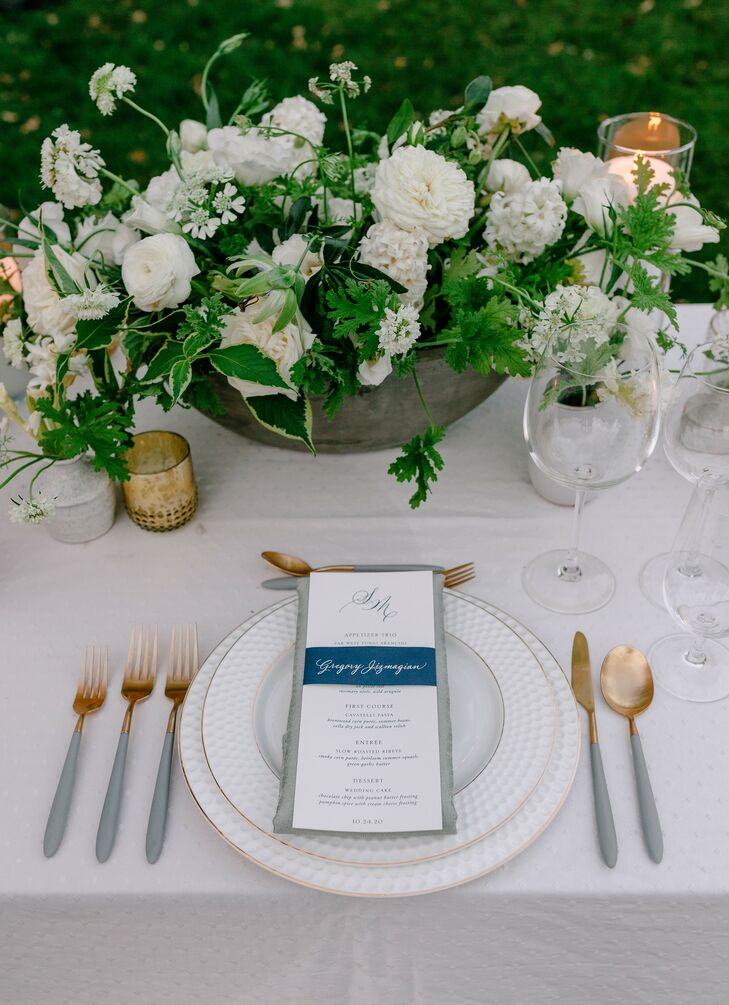 Romantic Place Setting With Gray-and-Gold Details