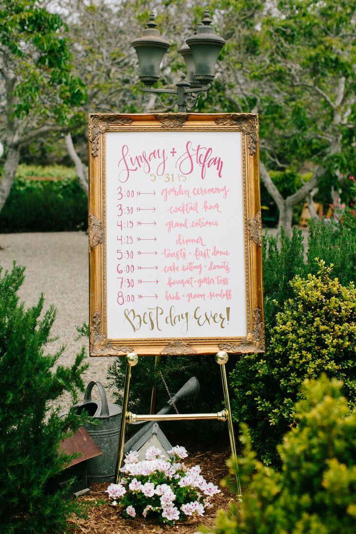 Pink and Gold Wedding Schedule Sign