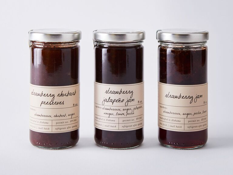 Selection of three strawberry jam blends