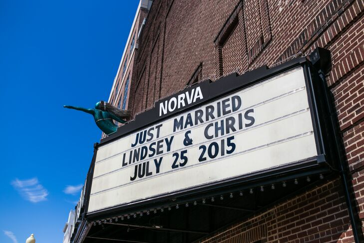 """Lindsey and Chris used NorVa's vintage marquee sign to display a message that greeted friends and family. The sign read """"Just Married/Lindsey & Chris/July 25, 2015."""""""