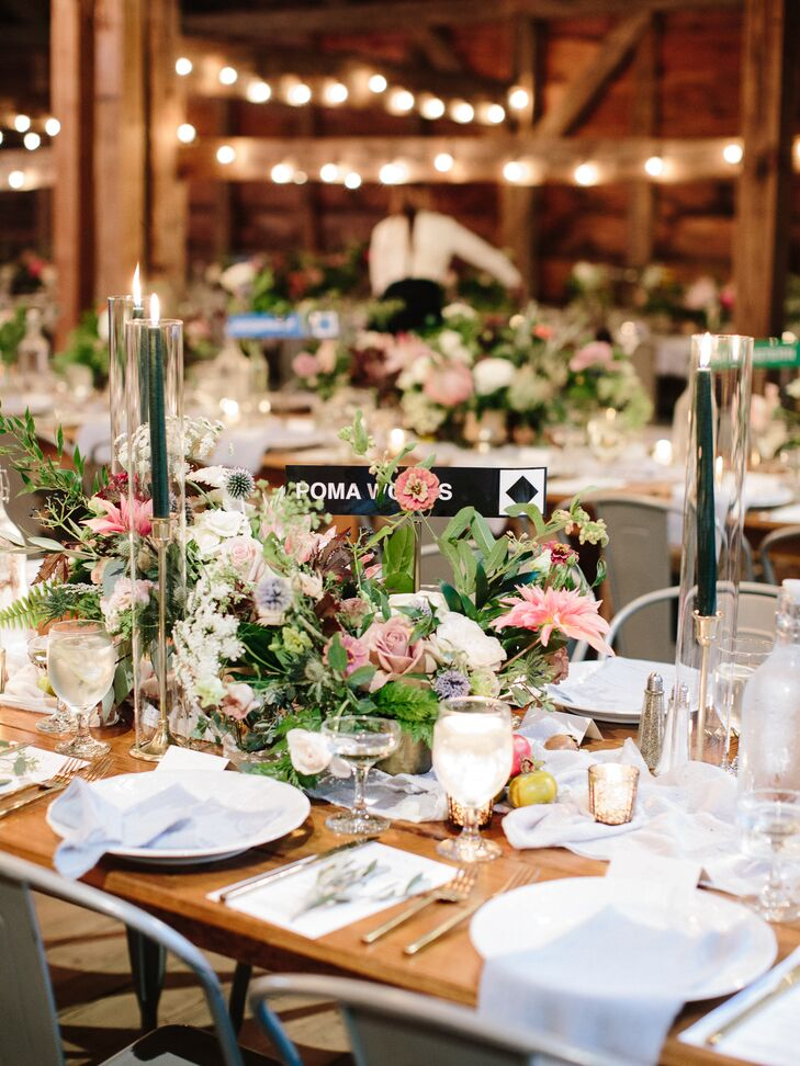 Rustic, Romantic Barn Reception with Centerpieces and Farm Tables