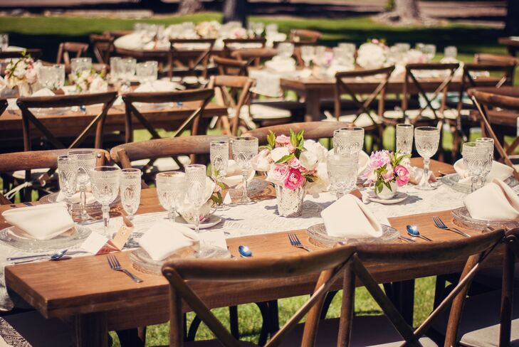 Rustic Reception Decor With Lace Table Runners