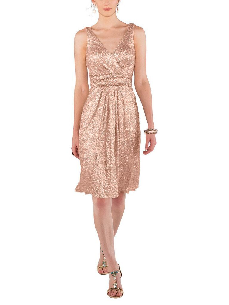 Short V-neck sequin rose gold bridesmaid dress