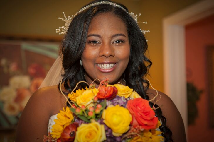 Orange and Yellow Rose Bridal Bouquet