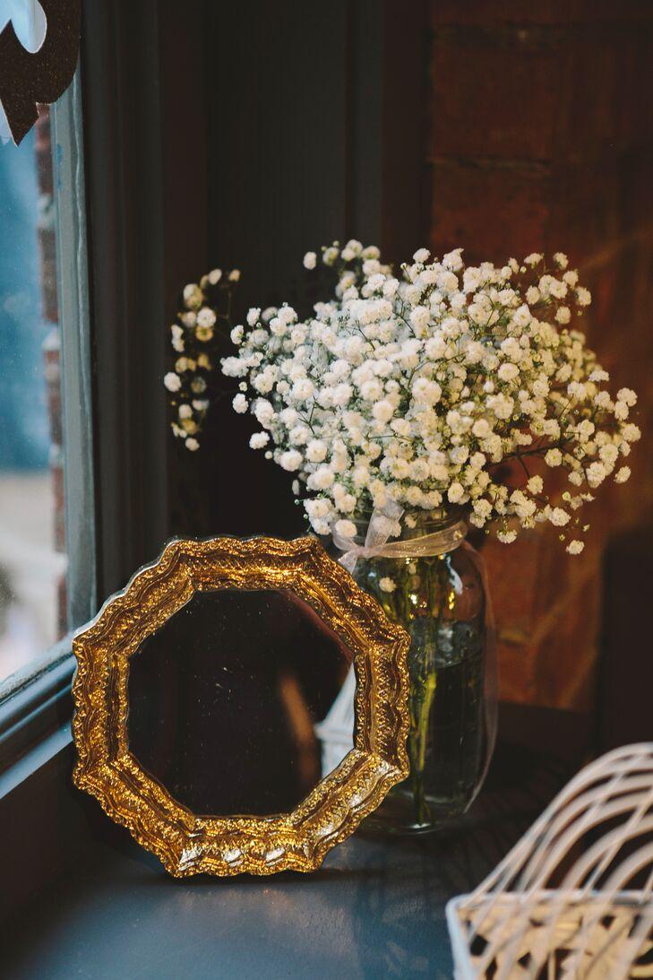 Baby's Breath Arrangement with Gold Mirror