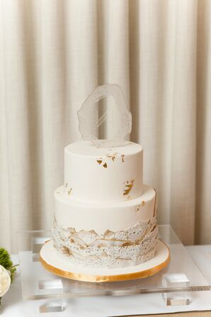 Modern Geode Wedding Cake Topper