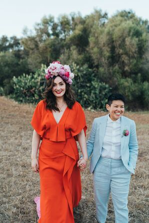 Couple Wearing Colorful Wedding Attire in Menorca, Spain