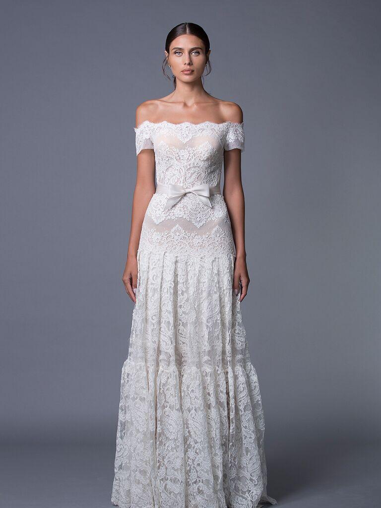 Lihi Hod 'Ella' off-the-shoulder lace wedding dress for Fall 2017