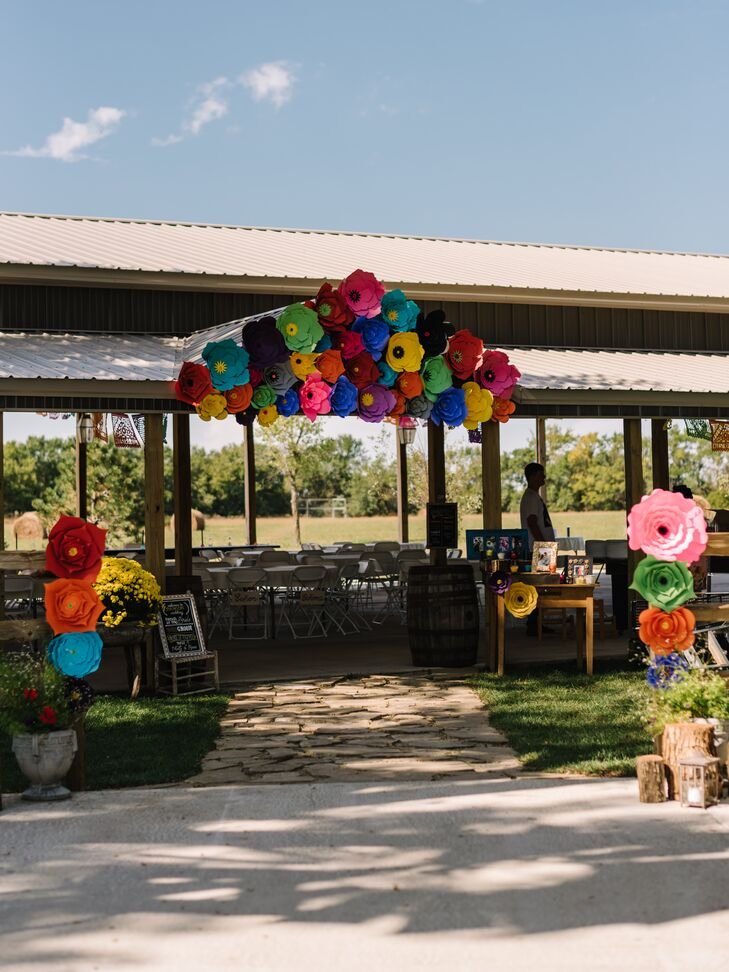 Colorful Paper Flower Arch