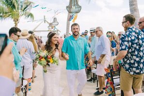 Bride, Groom and Guests in Beach Attire