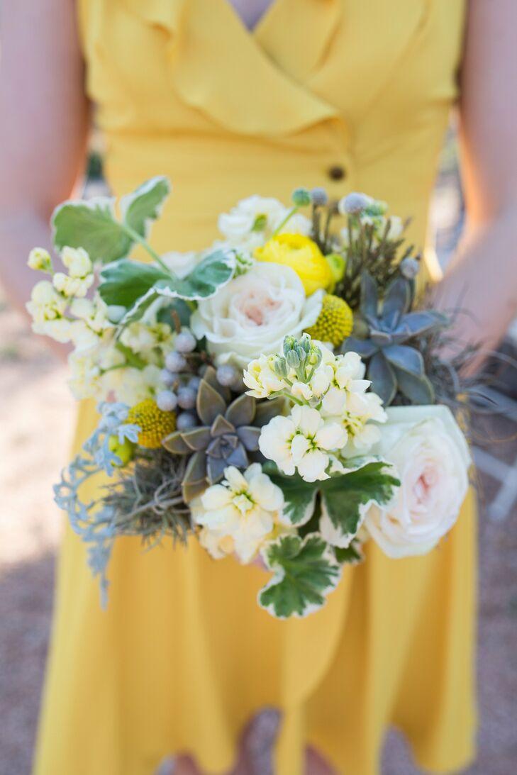 Rose and Succulent Bridesmaid Bouquet