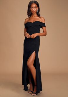 Lulus Song of Love Black Off-the-Shoulder Maxi Dress Off the Shoulder Bridesmaid Dress