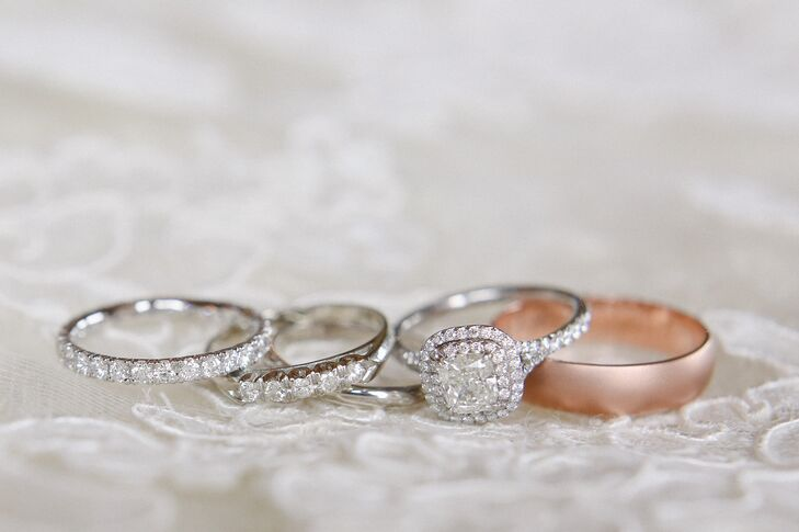 """I had a pretty clear idea of what kind of ring Charlotte wanted through many subtle and some not-so-subtle hints,"" Jeff says. He proposed with a stunning Tiffany cushion-cut diamond ring surrounded by a double-halo. Charlotte and Jeff purchased their wedding bands with matching engraving from a small jeweler in Nantucket, Massachusetts, a place near and dear to their hearts."