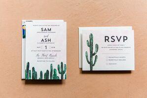 Modern Cactus Motif Invitations