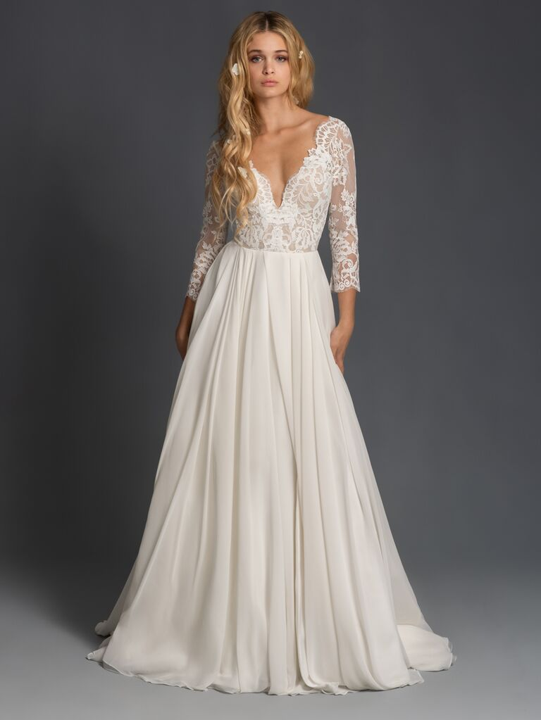 Blush by Hayley Paige Fall 2019 wedding dress with fitted lace bodice
