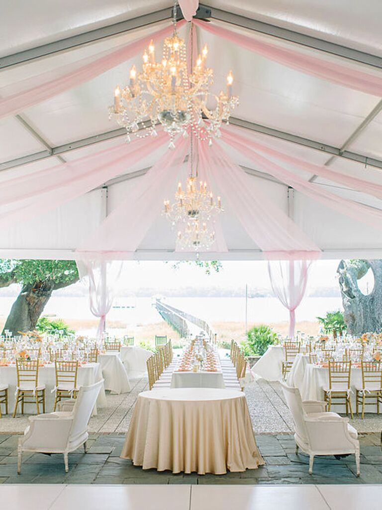 Outdoor Tented Wedding Reception With D Ceilings And Chandeliers