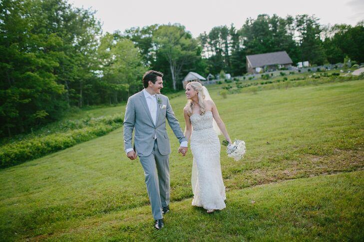 Kayla's strapless, silk chiffon gown was embellished with glamorous Swarovski crystals.