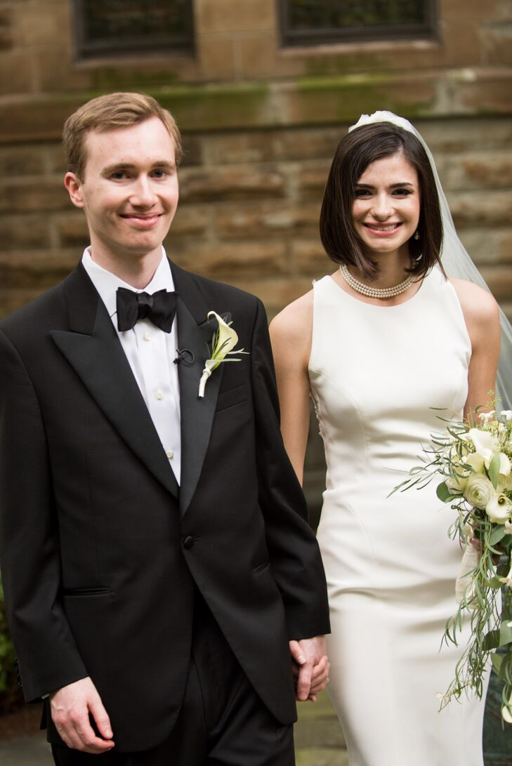 Classic Black Tux and Column Wedding Dress