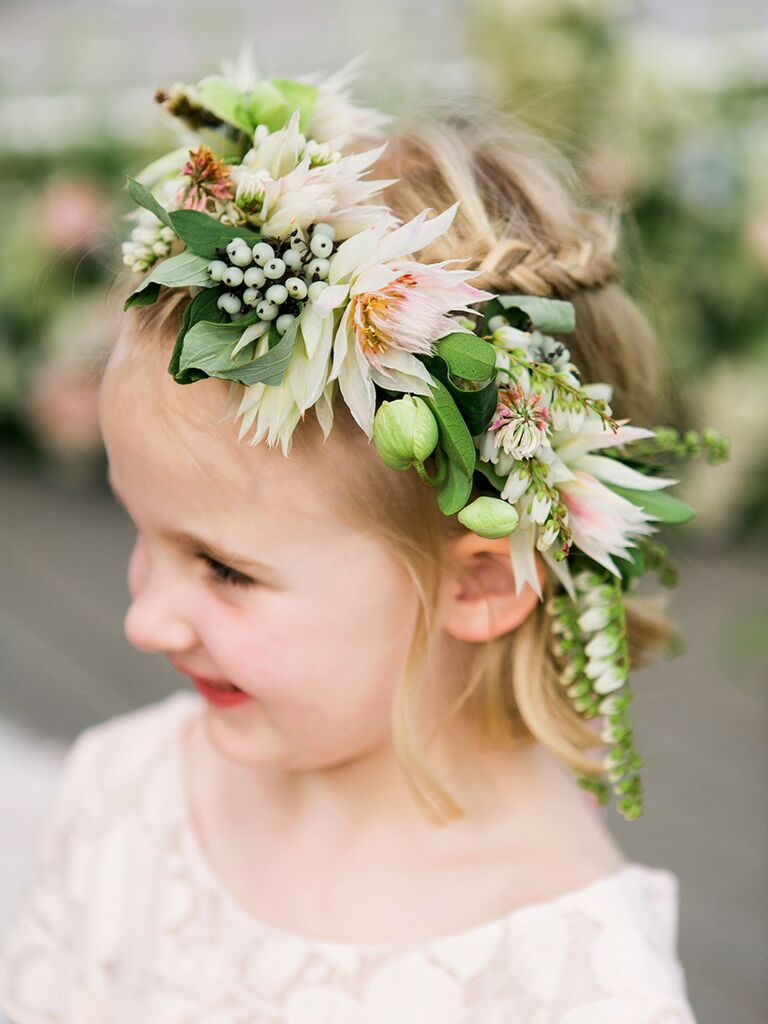 Braids with wreath for flower girls