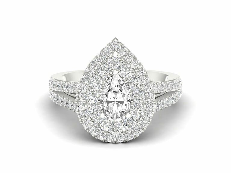 Jenny Packham engagement ring with pear-shaped diamond in double halo and diamond split shank setting