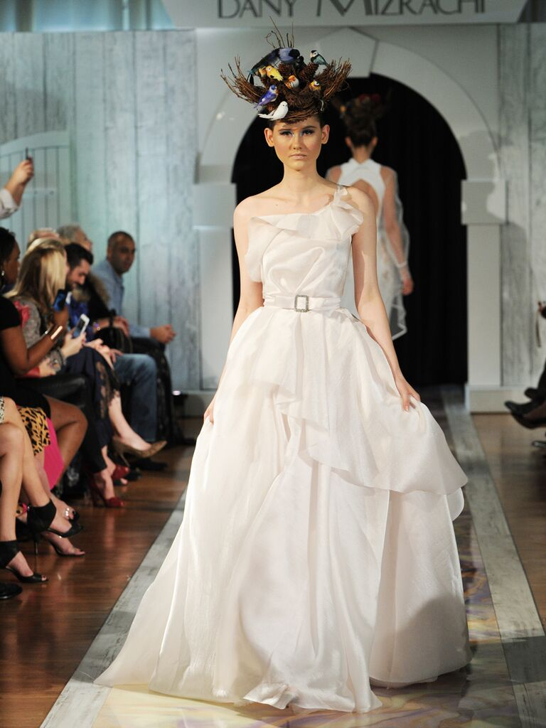 Dany Mizrachi Fall 2019 one-shouldered ruffled and belted wedding dress