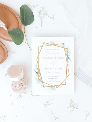 Romantic Wedding Invitation with Geometric Design