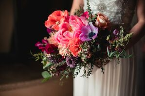 Modern, Colorful Bouquet of Peonies and Anemones
