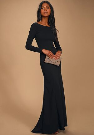 Lulus Wait For Me Black Long Sleeve Maxi Dress Bateau Bridesmaid Dress