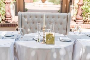 Sophisticated Gray and Gold Sweetheart Table