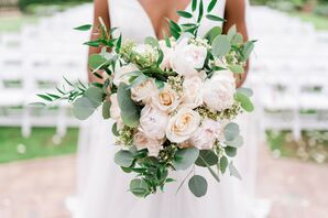 Rose-and-Eucalyptus Bouquet for Wedding at the Royal Crest Room in St. Cloud, Florida