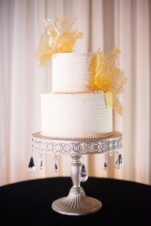 Yellow and White Buttercream Wedding Cake