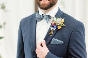 Colorful Boutonniere and Polka-Dot Pocket Square
