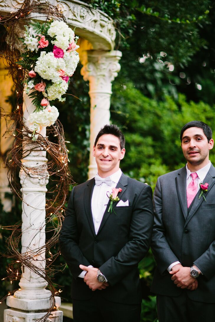 Ramin wore a black Hugo Boss tuxedo and his groomsmen wore gray Vera Wang suits with pink ties.