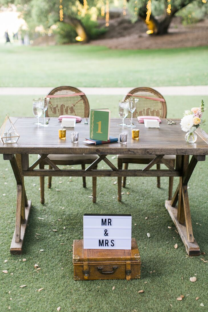 Rustic Wood Sweetheart Table with Vintage Props