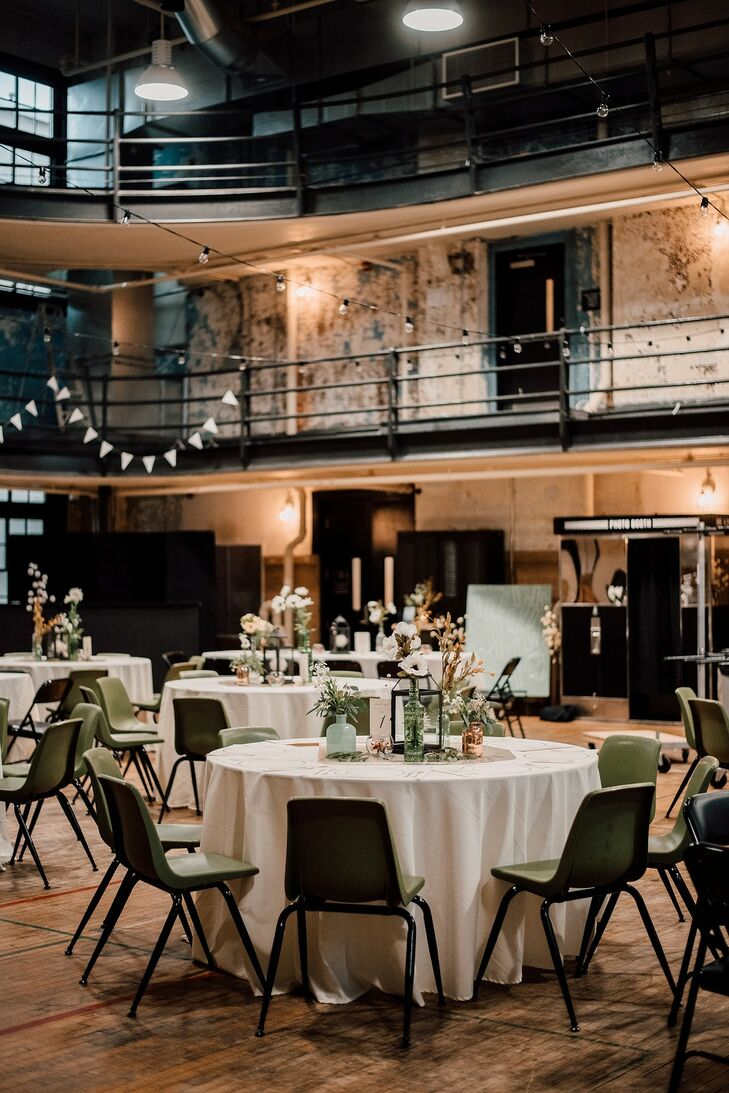 Industrial Reception with Round Tables and White Linens at the Ace Hotel Pittsburgh