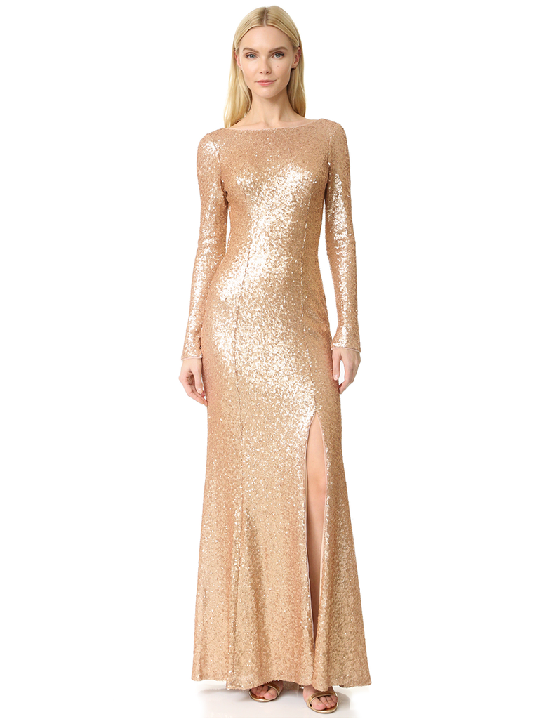 What to wear to a winter wedding 60 guest dresses if you have any holiday themed cocktail affair or winter wedding coming up youd be remiss not to wear a floor length golden gown with a thigh high slit ombrellifo Choice Image