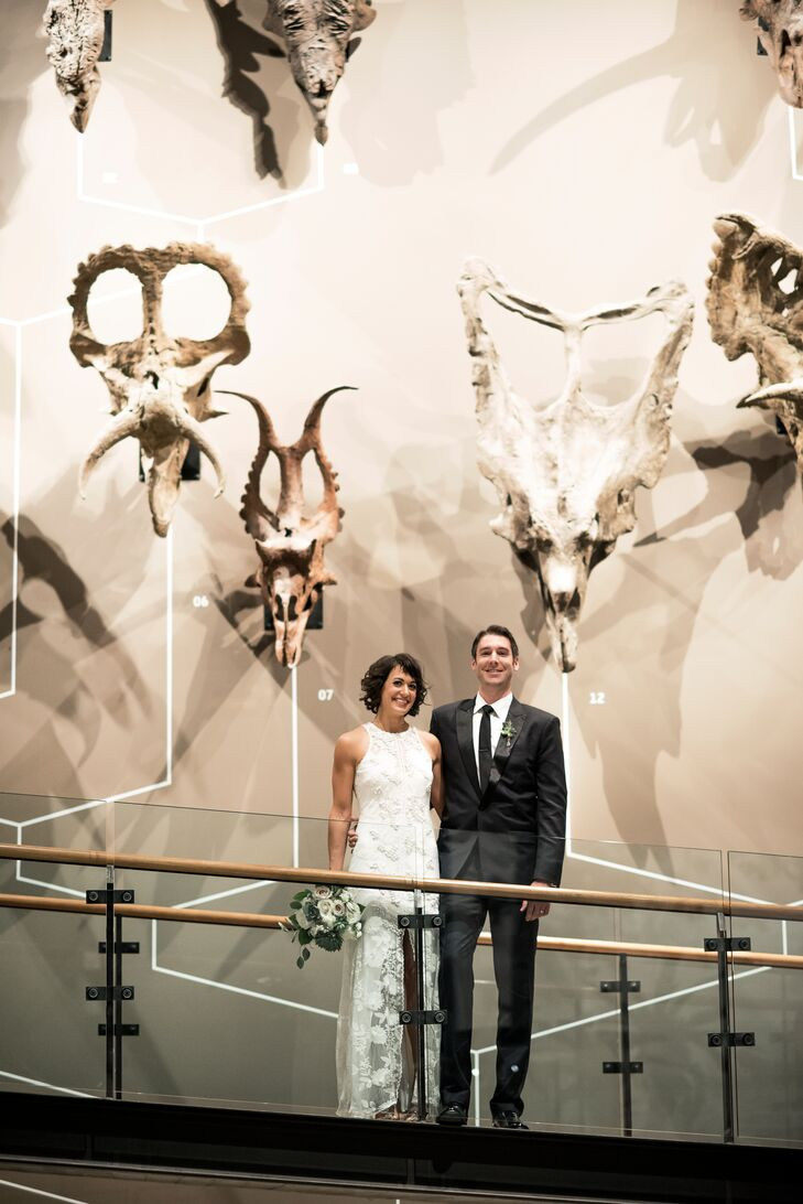 """We are active, outdoorsy nerds with an appreciation for minimalism—which best sums up why the Natural History Museum of Utah was the perfect choice for us,"" Marie says of their venue in Salt Lake City, Utah."